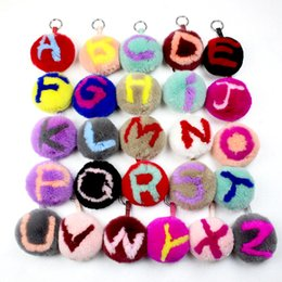 fur ball purse charms Coupons - Free DHL Fluffy Charm Pom Pom Letters Keychain Fur Ball Lovely Car keychains HandBag Purse Pendant Keyrings For Women Girls G292Q Y