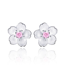 83a86c7a6 Cute 925 Sterling Silver Cherry Blossoms Flower Set Pink CZ Stud Earrings  For Women Girls Kids Jewelry Orecchini Aros Aretes