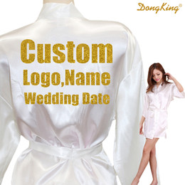 Wholesale bridal party robes - DongKing Custom LOGO Short Style Robes Bridal Party Kimono Robe Personalize Wedding Party Gold Glitter Print Satin Robes