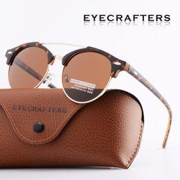 Argentina Tortuga marrón retro vintage para hombre gafas de sol polarizadas Womens diseño de la marca Club gafas de sol redondas doble puente gafas UV400 supplier tortoise round sunglasses Suministro