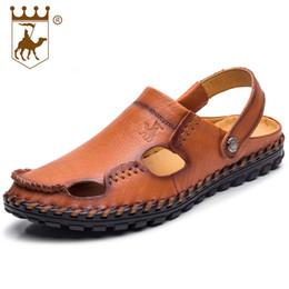 Wholesale Business Sandals - 2018 New Fashion Advanced Sandals Leather Business Shoes Men Baotou Hand-stitched Beach Shoes Soft Leather Soft Bottom Size 38-44