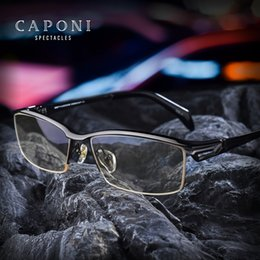 454a560625 Caponi Men Pure Titanium Eyeglasses Frame Business Glasses Fashion Semi  Frame Optical Flexible Temple 1194
