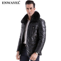 Wholesale Champagne Leather Jacket - ENWAYEL Luxury Down Jacket Men Leather Jacket Male Down Coat Jackets Top Quality Windproof Warm Fox fur collar 2017 Winter EW130