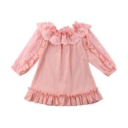 Девушки одеваются с плеча онлайн-Kids Baby Girl Lace Floral Shoulder Dress Fashion Children Off Shoulder Princess Dresses Party Pageant Pink/Beige Dress Vestidos