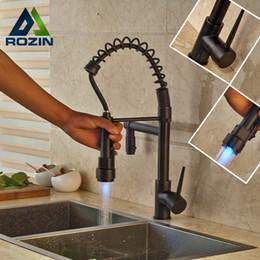 Wholesale change sink tap - Oil Rubbed Bronze Newly Bathroom Kitchen Sink Faucet LED Color Changing Dual Spout Kitchen Mixer Taps