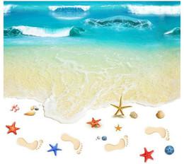 2019 impressão de adesivo de vinil Mar Praia romântica Piso Adesivo 3D Simulação Praia Home Decor Decal para Decoração Do Banheiro Quarto Sala de estar Pano de Fundo Adesivo de Parede