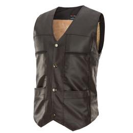 Wholesale Sleeveless Leather Jacket Mens - 2018 Men'S Fashion Suit Vest Male pu Custom Made Sleeveless Suit Jacket Men Wedding Mens Dress Groom Vests Bestman