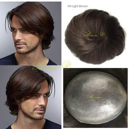 Wholesale thin skin hair wig - Super Thin Skin Hair Human Men Invisible Hairline V-loop Male PU Toupees Natural Looking Brown Color