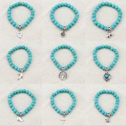 Wholesale Beaded Boxes - Europe and the United States Retro temperament Bohemian personality pendant turquoise beaded bracelet