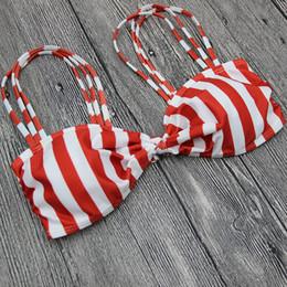Femmes débarquant des maillots de bain en Ligne-2018 Rouge Blanc Stripped Bandage Bikini Set Halter Maillot De Bain Maillot De Bain Maillots De Bain Soprts Bikini Top Beachwear pour Femmes
