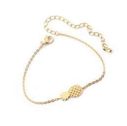 Rose gold freundschaft armbänder online-Minimalismus Ananas Armband für Frauen zierliche Geschenke BFF Schmuck Freundschaft Edelstahl Rose Gold Ananas Armband Femme