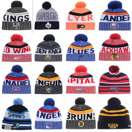 Wholesale Penguin Cap - 2018 New Arrival Beanies LAS VEGAS GOLDEN KNIGHTS Penguins LA kings Blackhawks Bruins Hockey Beanies Knitted Hats Drop Shipping Mix Order