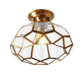 luz de teto de entrada led Desconto Lâmpadas de Teto conduzido moderno Luzes de Teto De cobre D30cm Para Entrada Do Corredor Do Balcão Luminária Luminária antiguidade Rústico fixtue café lâmpada F110