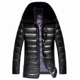 Wholesale Fox Fur Leather Jacket Men - 2017 New Men's PU Leather Down Jacket Men coat Fox Fur collar Coat Men Leather Jackets Coats Winter Down Warm Parka