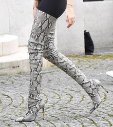 Wholesale B Sexy Photo - 2018 Sexy Snakeskin Women Boots Python Leather High Heel Over The Knee Boots Pointed Toe Tight High Boots Winter Shoes Real Photo
