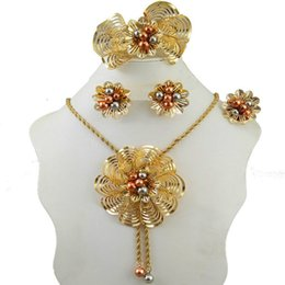 Wholesale Indian Beads Jewellery - Dubai Gold Color Jewelry Sets Nigerian Wedding African Beads Crystal Bridal Jewellery Set Rhinestone Ethiopian Jewelry parure