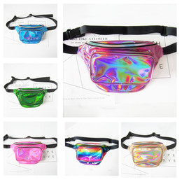 Wholesale waterproof yoga bag - New Fashion Laser Waist Bag Translucent Waterproof Rainbow Hologram PU Metallic Beach Bags Women Crossbody Shoulder Bags Fanny Packs 9 Color