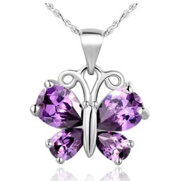 vogue pendant Coupons - Unique Purple Vogue White Gem Zircon 925 Sterling Silver Butterfly Necklace Pendant Free Jewelry Bag High Quality