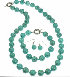 Wholesale semi precious turquoise beads - 12mm Genuine semi precious turquoise round bead necklace, bracelet and earrings set