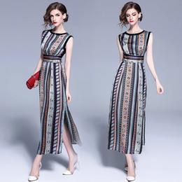 fc78f3b98c8a Nova Senhora estilo Bohemian Moda impressão Longo Vestido de Cintura Alta  Magro Ocasional O-pescoço vestido sem mangas Mulheres vestido de alta  qualidade ...