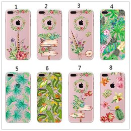 Wholesale Banana Phone Iphone Case - Soft Silicone Plants Cactus Banana Leaves Case For iphone X 6s 7 8 Plus Transparent Clear TPU Phone Back Cover