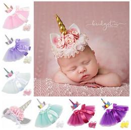 Decoração de pés de crianças on-line-BABY INS Unicorn TUTU saia + crianças acessório de cabelo + cinta de pé verão lace Bow flor decoração saia curta crianças vestido