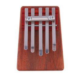 Instrumentos de dedo online-5 Clave Kalimba Mbira Likembe Sanza Finger Thumb Piano Rosewood Instrument