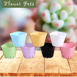 Wholesale floor supplies - Plastic Flower Pots For Succulents Breed Base Special Purpose Basin Breathable Multicolour Square Garden Supplies NNA78
