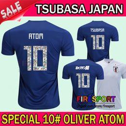 Wholesale Wholesale Jersey Shorts - 2018 World Cup Japan Soccer Jersey 2018 Cartoon Captain Tsubasa KAGAWA OKAZAKI Japan Home blue soccer Shirt #10 ATOM football uniform