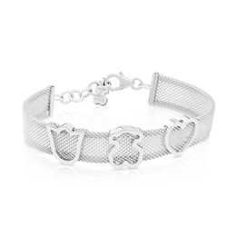 Wholesale Wide Bracelets - New edition mujer pulseras osos Luxury Women Jewelry Stainless Steel Silver gold hollow Crown Heart charms wide band mesh net cuff Bracelet