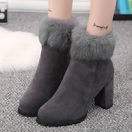 c8689e948f0b chunky heel open toed boots Promo Codes - New 2018 Women s Warm Fur Chunky  Heel Winter