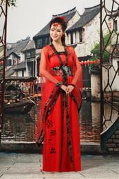 Trajes chineses antigos mulheres on-line-Vermelho Tradicional Mulheres Tang Antigo Traje Chinês Bonito Dança Hanfu Costume Princesa Dynasty Opera Chinês Hanfu Vestido