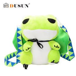 Wholesale japanese cartoon plush toys - DUSUN Green Plush Frog Shoulder Bag Japanese Anime Cute Cartoon Art Schoolbag Stuffed Animal Toy For Children Girl Kids Gift Sac