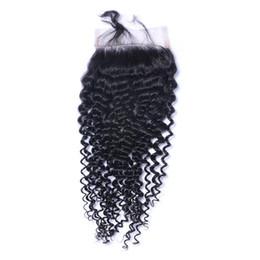 mongolian fechamento de seda de cabelo encaracolado profundo Desconto Kinky Curl 4X4 Lace Encerramento Nós Descorados Brasileiro Malaio Indiano Peruano Fechamento Do Cabelo Humano Livre Médio 3 Parte 100% Cabelo Humano