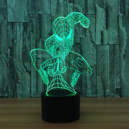 2019 цвет оптических иллюзий Крытый Spider Man для детей настольное освещение 7 Изменение цвета здания USB Оптическая Иллюзия Домашнего Декора Настольная Лампа Новизна Освещения дешево цвет оптических иллюзий