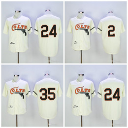 Wholesale Red Foxes - Throwback Houston Colts Baseball Jersey 24 Jimmy Wynn 35 Joe Morgan 2 Nellie Fox Mitchell and Ness Stitched Cream