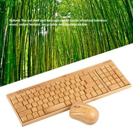 Wholesale Wooden Keyboards - 2.4G Wireless Bamboo PC Keyboard and Mouse Combo Computer Keyboard Handcrafted Natural Wooden Plug and Play for office home use