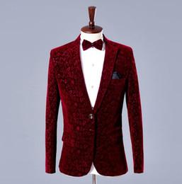 Wholesale Men S Marriage Suits - Wine red velvet blazer men formal dress latest coat pant designs suit men costume homme trouser marriage wedding suits for men's