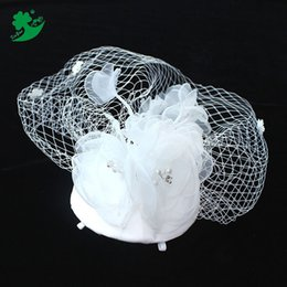 Wholesale Bridal Veil Hair Clip - Bridal veil headdress hat hair accessories dress style jewelry red flower shape with jewelry mesh hair clips