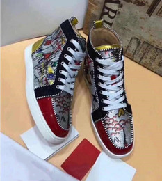 Wholesale Graffiti Sneakers - 2018 New Designer Rantus Orlato Red Bottom Sneakers Men Women High Top Luxury Print Silver Spikes and Rhinestones Graffiti Shoes With Box