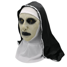Maschere di viso horror online-Halloween The Nun Horror Mask Cosplay Valak spaventoso maschere in lattice Casco integrale Demone Halloween Party Costume puntelli 2018 Nuovo