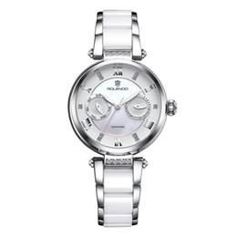 Wholesale Custom Logo Watches - Renault Rolendo series ceramic chain white quartz watch lady's watch supports custom LOGO