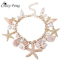 Estrella de mar online-Crazy Feng 2018 Fashion Sea Shell Pulsera de mar para mujeres Summer Beach Charm Pulseras Bohemio pulsera de cadena Boho Joyería
