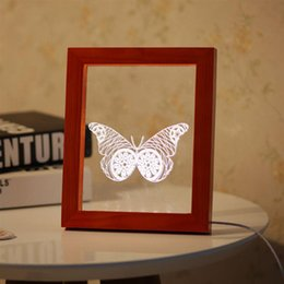 Wholesale photo light table - USB Butterfly Wooden Photo Frame 3D Night Light Creative Gifts USB LED Table Decorative Lamp Desk Light 3D Vision Night Lamp
