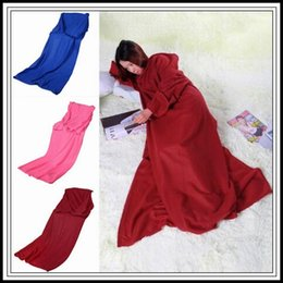 Wholesale Warm Robes - 3 Colors 170*135cm Soft Warm Fleece Snuggie Blanket Robe Cloak With Cozy Sleeves Wearable Sleeve Blanket Lazy Blankets CCA8689 50pcs