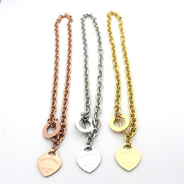 Wholesale Titanium Chain Necklace For Men - famous brand jewerly 316L titanium Steel 18K gold plated necklace short chain silver man heart necklace pendant for women couple gift