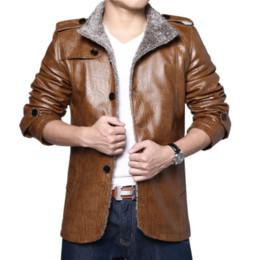 Pelaje gordo online-2018 otoño e invierno de cuero de los hombres más gordo y caliente para aumentar el tamaño de una chaqueta de piel de la piel de la PU más chaqueta de cachemira gruesa masculina
