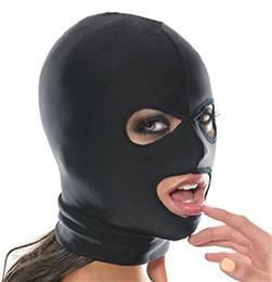 2019 sexo aberto completo Sexo-Spandex-Blindfold-FULL-MASCARA-SPANDEX-BOCA-Abertura-Chapelaria Estilo Fetiche Sexy Brinquedos Chapelaria Máscara Cosplay Páscoa sexo aberto completo barato