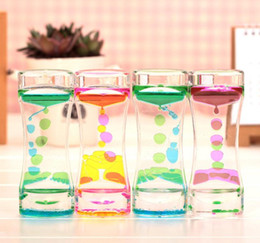 Wholesale Desk Ornament - Floating Color Mix Illusion Timer Liquid Motion Visual Slim liquid Oil Glass Acrylic Hourglass Timer Clock Ornament Desk SN1249