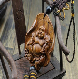 Wholesale Wood Craft Cars - Holiday Gifts Chinese Souvenir Car Pendant Wood Craft Religious Decoration Crafts Wood Happy Buddha Statue AHJ009
